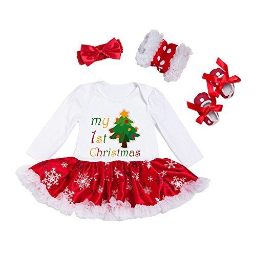 BABYPREG Bebé Infantil Primera Trajes de Navidad Vestido Tutu Romper Mi Zapatos con Banda de Sujeción (Árbol, XL por 12-18...