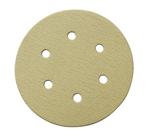 - POWERTEC 45208G-50 6-Inch 6 Hole 80 Grit Hook and Loop Sanding Discs, Gold, 50-Pack