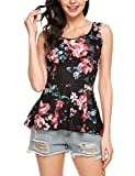 ELESOL Women A-Line Asymmetrical Hem Sleeveless Printed Peplum Top Black XXL