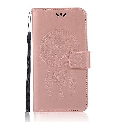 LG K10 Case, Daker LG LV5 Embossed PU Leather Wallet Purse Credit Card ID Holders Design Flip Folio TPU Soft Bumper Clear Ultra Slim Fit Cover for LG K10 2017 (Rose Gold) by Daker