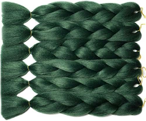 Blondwigs Ombre Jumbo Crochet Braids Hair High-temperature Synthetic fiber Braiding Hair Extensions 24inch (5Pcs/Lot, Green)