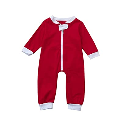 GOTD Newborn Infant Toddler Baby Girl Boy Rompers Zip Jumpsuit Christmas Clothes Outfit
