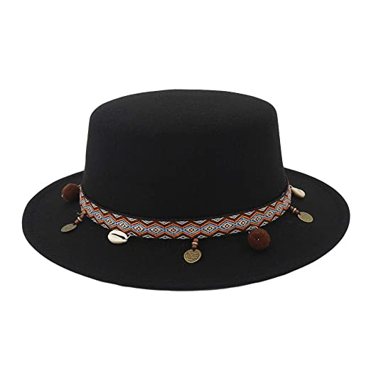 a71f979607a21d iDWZA Women Wide Brim Wool Belt Felt Flat Top Fedora Hat Party Church  Trilby Hats Cap at Amazon Women's Clothing store: