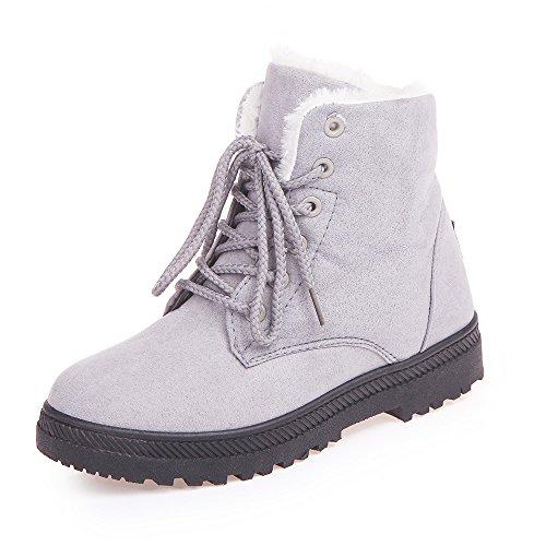 Xiakolaka Women's Fleece Lined Suede Platform Lace Up Winter Boots Grey US ()