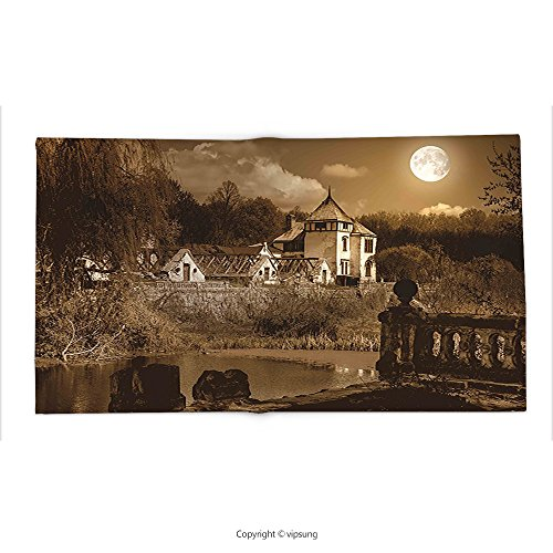 Custom printed Throw Blanket with Gothic Decor Photo of Old Ancient Medieval Myst House in Retro Vintage Color at Full Moon Luna Boho Style Decor Super soft and Cozy Fleece (Halloween At Luna Park)