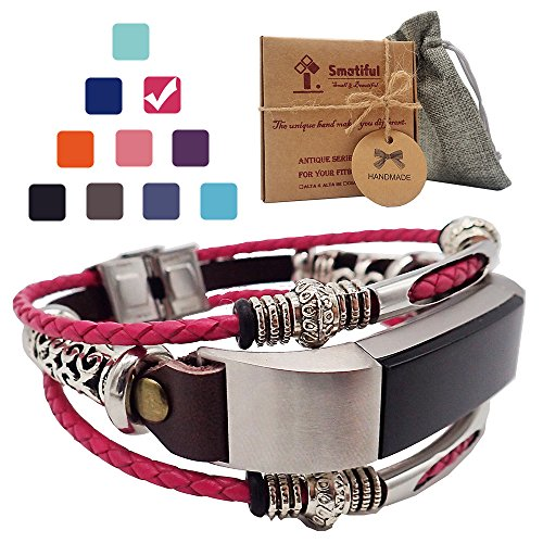 Smatiful Alta Bands (include conector) for Kids, Tibetan Silver Parts (not Real Silver Jewelry),Adjustable Accessories Cords Wristband for Fitbits Alta HR Heart Pedometer,(Plum Red Blush) Shockpink Jewelry Plum