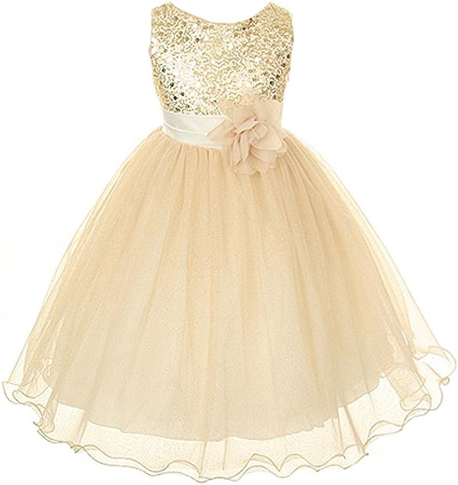 Kids Dream Girls Gold Bodice Mesh Girl Dress