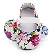 HONGTEYA Print Flower Baby Girls Shoes Mary Jane Baby Sandals (0-6M/4.33inch, White Flower)