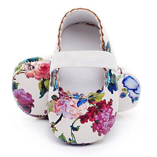 HONGTEYA Print Flower Baby Girls Shoes Mary Jane Baby Sandals (18-24M/5.51inch, White Flower) ()