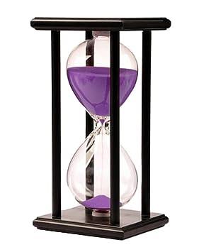 KKwell 15 minutos arena púrpura negro marco de madera reloj de arena, aprendizaje y tiempo