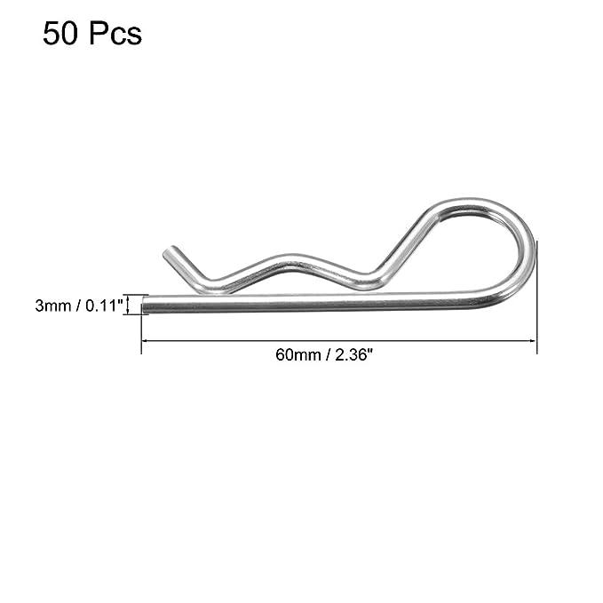 sourcing map Pasador de aleta hendido de resorte sujetador fijador en forma R de equipo de 2mm x 40mm de acero al carbono 100 pzas