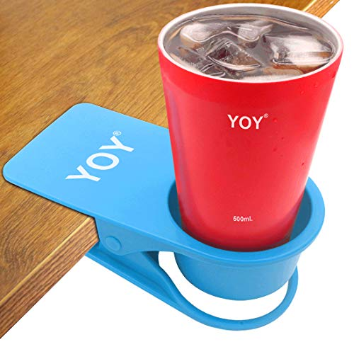 YOY Drinking Home Office Table Desk Side Huge Clip Water Drink Beverage Soda Coffee Mug Holder Cup Saucer Design, Blue