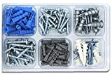 UpperHome Self Drilling Plastic and Zinc Drywall Anchor, Hollow Wall Anchors and Screw Assortment, 132 Pieces
