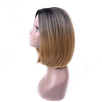 Amazon Com Ombre Blue Color Short Straight Hair Synthetic Bob Wig
