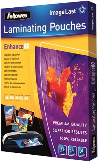 Fellowes 53600 - Pack de 100 fundas de plastificar, brillo, formato A5, 80 micras: Amazon.es: Oficina y papelería