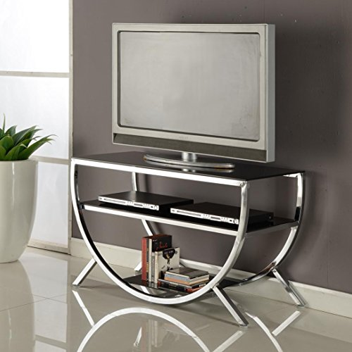Contemporary TV Stand with 2 Black Glass Shelves and Half Circle Stand in Chrome Finish Chrome Contemporary Tv Stand