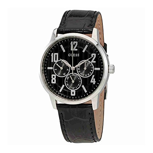 Guess-Mens-Original-Black-Leather-Analog-Day-date-Watch-W0604G1