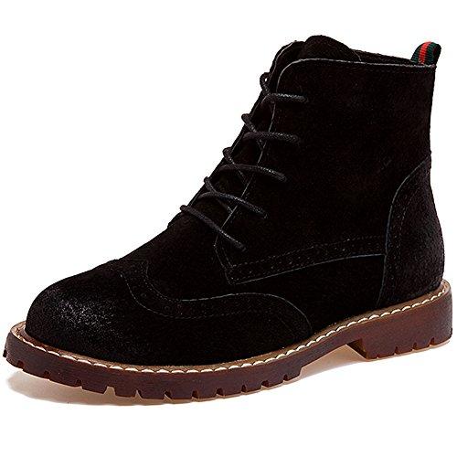 Ankle Black rismart Boots Boots Chunky Soft Fashion Roman Leather Nubuck Heel Women Brogue Style qwOSZ6gIO