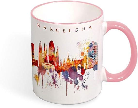 Taza de café Barcelona City Skyline, taza de España, recuerdo de viaje, regalo de cumpleaños, Navidad, aniversario, taza de té de 11 onzas: Amazon.es: Hogar