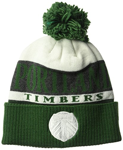 adidas MLS Portland Timbers Men's Heathered Gray Cuffed Knit Beanie with Pom, One Size, Green/White