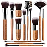 vegan 13 Bamboo Makeup Brushes Professional Set - Vegan & Cruelty Free - Foundation, Blending, Blush, Powder Kabuki Brushes