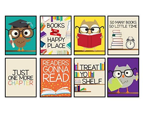 Owl Bulletin Board Ideas (Books are My Happy Place Set of Wall Decor Art Prints 8x10 Size (Set of 8) Reading)