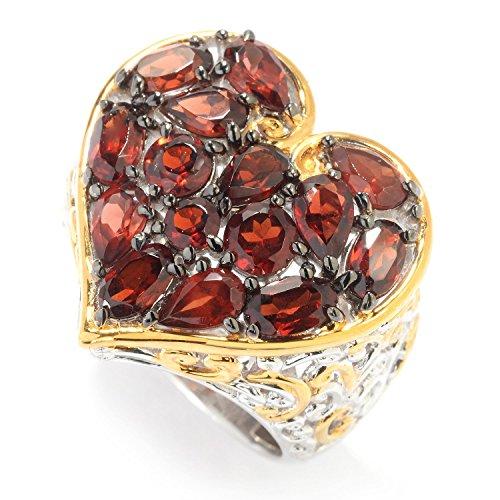 lladium Silver Multi Shape Mozambique Garnet Heart Ring (Hearts Ring Palladium Ring)