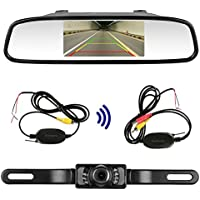 LeeKooLuu RC 9V-24V Wireless Rear View Backup Camera and Monitor Kit Waterproof For all Car / Vehicle / Truck / Van / Caravan / Trailers / Camper with 7 LED Night Vision LKL-0049