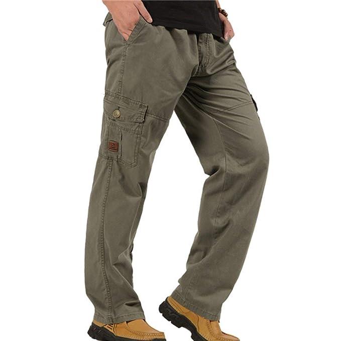 HX fashion Pantalones Rectos Flojos para Hombres Pantalones ...
