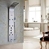 Senlesen Luxury Nickel Brushed Thermostatic Shower Column Shower Panel Tub Tap Jets Unit