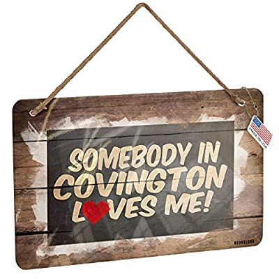 NEONBLOND Metal Sign Somebody in Covington Loves me, Kentucky Christmas Wood Print