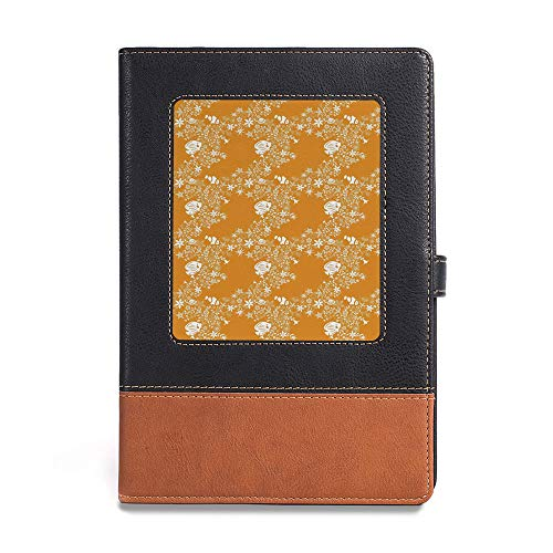 "Environmental-friendly notebook,Orange,A5(6.1"" x 8.6""),for multiple purposes,Tropical Fishes Sea Stars Stylized Cute Blossoms and,"