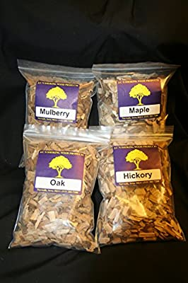 J.C.'s Smoking Wood Chips -Variety- 4 Pk - 65 Cu Inch Quart Bags of Hickory, Oak, Maple & Mulberry by J.C.'s Smoking Wood Products