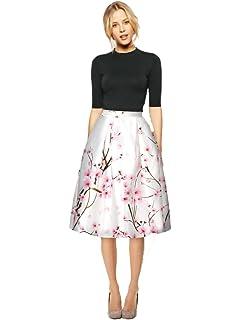 8f8961ba3d1919 Frauen Knielang Retro Skirts Mädchen Digital Vintage Print Stretchy  Ausgestelltes Plissee Beiläufiger Rock. YR.