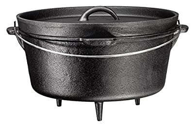 Bruntmor, 3 Legged Pre-Sesoned Cast Iron Camping Flanged lid Deep Dutch Oven, 8.5 Quart w/ Metal Bail Handle