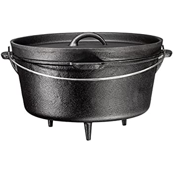 Bruntmor, 3 Legged Pre-Seasoned Cast Iron Camping Flange lid Deep Dutch Oven, 8.5 Quart w/ Metal Handle