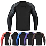 Sanabul Essentials Long Sleeve Compression Training Rash Guard for MMA BJJ Wrestling (Large, All Black)
