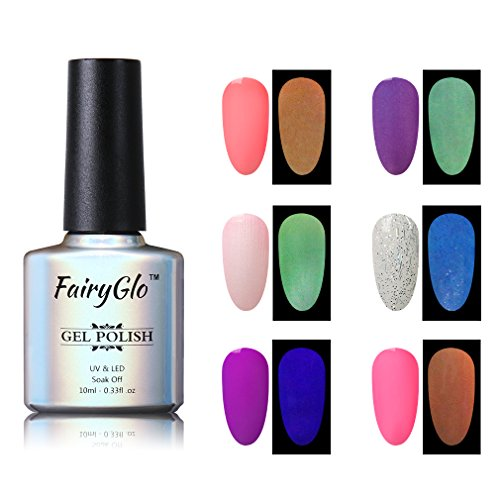 Nail Polish UV LED Glow in the Dark Dramatic Nail Art Soak Off Varnish Gift Set Carnival Party 6pcs 10ml FairyGlo 011