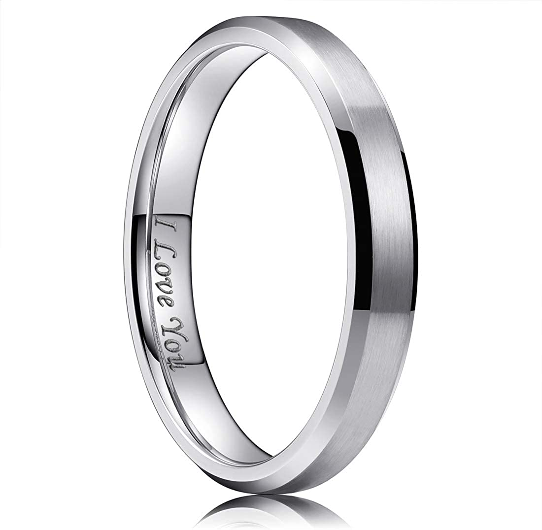 King Will 4mm/6mm/8mm Stainless Steel Ring Matte Finish & Polished Beveled Edge with I Love You
