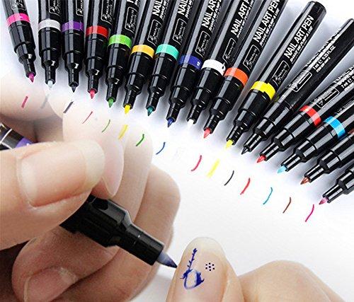 Price comparison product image EUBUY 1pcs 16 Colors Set Nail Art Pen Painting Drawing Dotting Tools for 3D Nail Art DIY Decoration Nail Polish Pen Set 3D Design Nail Beauty Tools Paint Pens #8