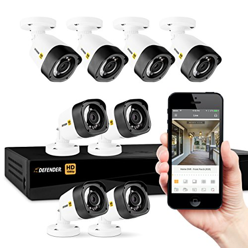 Defender 8 Channel 1TB DVR Security System & 8 Bullet Cameras - White Camera, Black DVR - HD1T8B8