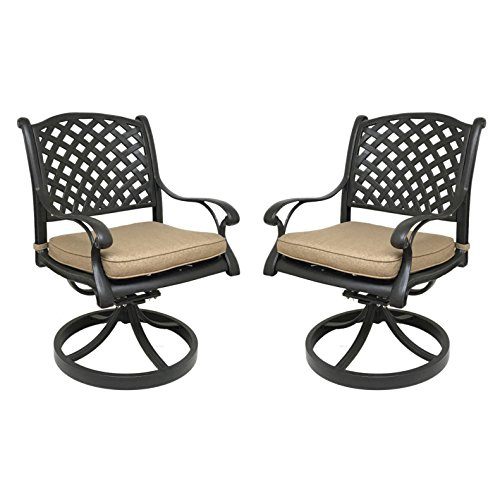 Nevada Cast Aluminum Patio Swivel Rocking Dining Chair with Premium SUNBRELLA seat cushion (2, Sesame)