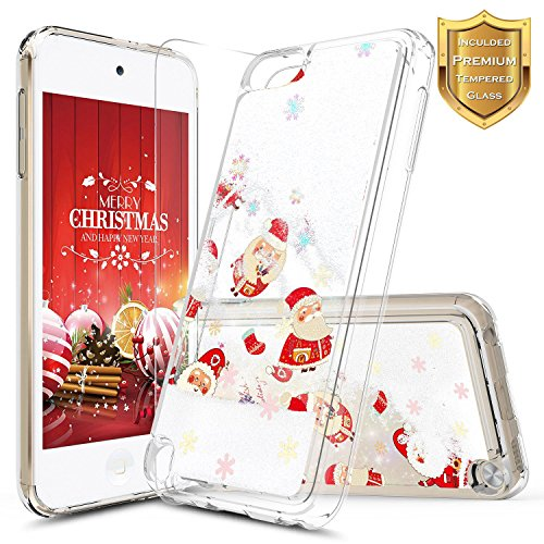 Apple iPod Touch 5th / 6th Case, iPod 5th / 6th Generation Case with [Tempered Glass Screen Protector], NageBee Quicksand Liquid Floating Glitter Flowing Sparkle Bling Clear Case -Snow (Ipod 5th Generation Selfie Cases)