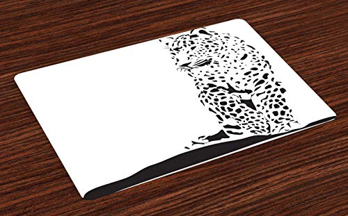 Lunarable Jaguar Place Mats Set of 4, Black Jaguar Figure in Abstract Style Spotty Animal Skin Savannah Fauna Theme, Washable Fabric Placemats for Dining Room Kitchen Table Decor, Black and White