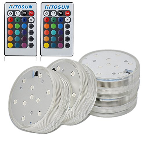 4pcs Submersible LED Lights with Remote Waterproof LED Accent Light 2.8inch Round Multicolors for Vases, Centerpiece, Ice Buckets,Pool,Tank, Wedding Centerpiece, Halloween, Party Lighting]()