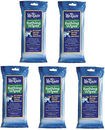 No Rinse Bathing Wipes (8 count each) - 5 Pack (40 wipes)