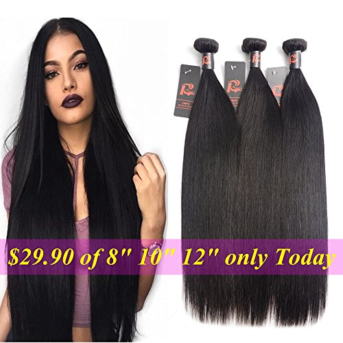 3 Bundles Malaysian Straight Hair Deals 100% Unprocessed Mink 8A Malaysian Virgin Human Hair Weae Remy Human Hair Extensions (20 22 24inches, Natural Color)