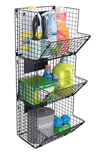 Premium 3-Tier Wall Mounted Hanging Wire Baskets with Chalkboards - High-Grade Black Iron - Fruit or Produce Storage - Bathroom Towel Rack - Rustic Country-Style Organizer by Saratoga Home (Image #4)