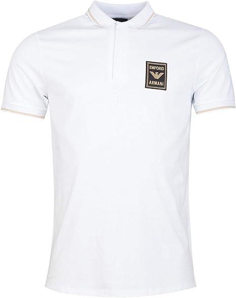 Armani Emporio Stretch Piqué Polo Shirt with Zipper and Logo Patch ...