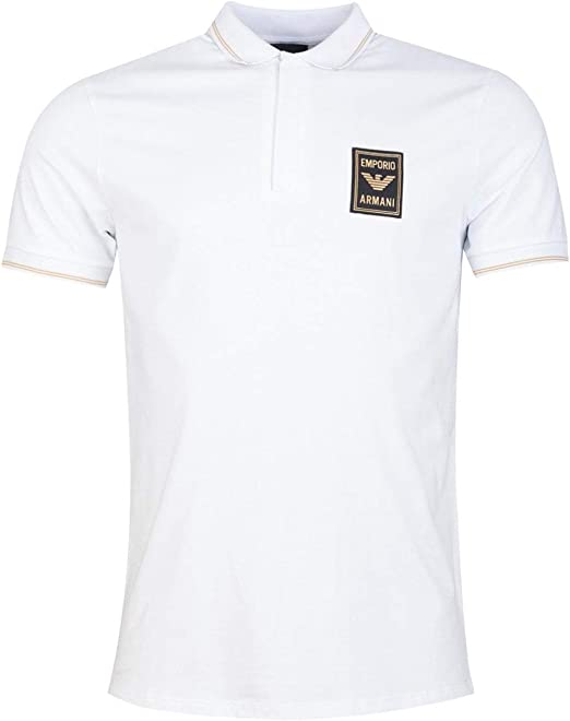 Armani Emporio Stretch Piqué Polo Shirt with Zipper and Logo Patch ...